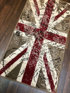 Modern Rug Approx 4x2ft 60x110cm Woven Back Nice Design Stamped Union Jack Red